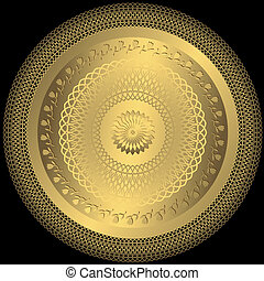 Gold elegance round plate - Decorative gold round plate on...