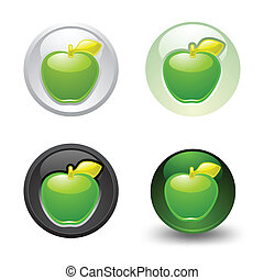Green Apple button, set, web 2.0 ic