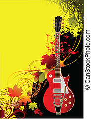 Cover for brochure with autumn leaves and guitar image....