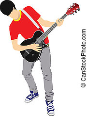 Guitar player isolated on the white background Vector...