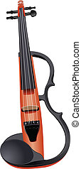 Electric violin isolated over white Vector illustration
