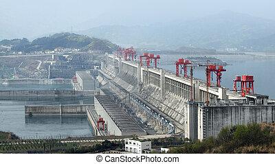 Three Gorges Dam in China - the Three Gorges Dam at Yangtze...