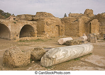 View with ruins of Carthage in Tunisia - View with ruins of...