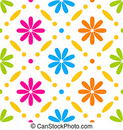 Floral stitches - Stitches seamless floral pattern on white...