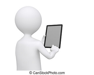 3D Businessman holding blank tablet pc. Advertising concept