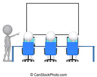 3d person with pointer in hand close to board. Concept of...
