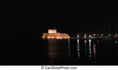Night Rhodes fort - Fort in rhodes port Rhodes island Greece...