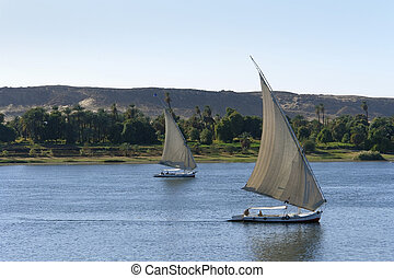 sailing boats on River Nile - waterside River Nile scenery...