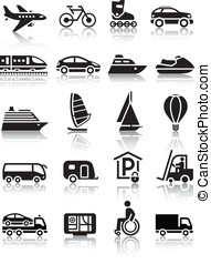 Set of simple transport icons with reflection, vector