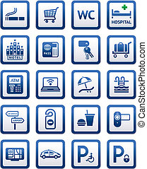 Signs set hotel services Symbols motel services vector