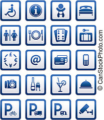 Signs set motel services - Symbols hotel services Signs set...