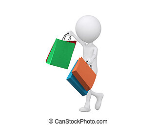 3d shopping person holding bags - isolated over a white...