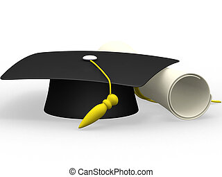 graduation cap diploma isolated on a white background