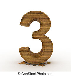 High res. 3D bamboo wooden numbers isolated.