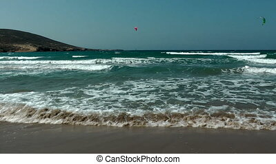 Windsurfing on Thef Prassonissi beach of Aegean and...