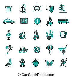 Signs. Recreation, Travel & Vacation. Fourth set color icons