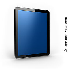 Digital Tablet with blue screen in perspective