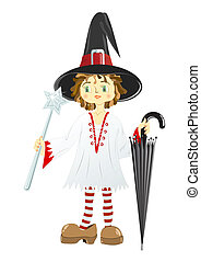 Little witch in black hat