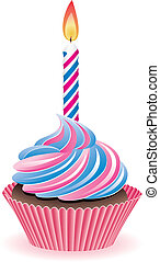 cupcake with burning candle - vector blue and pink cupcake...