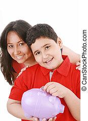 retrato, Cuidado, madre, enseñanza, ella, hijo,...