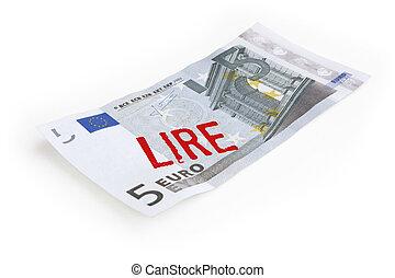 Euro, contra, italiano, lire