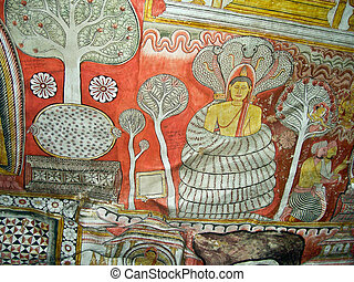 Buddah and painting in the famous rock tempel of Dambullah,...