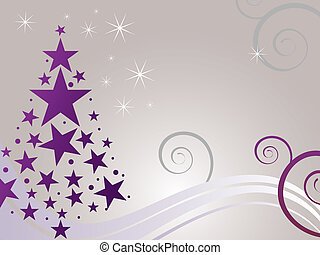 christmas card - vector illustration of a purple christmas...