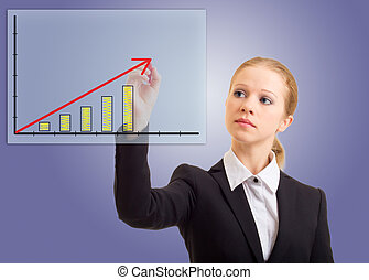 Business woman drawing a rising arrow