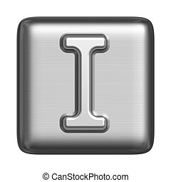 Metal alphabet in the form of a stamp. Capital letter I