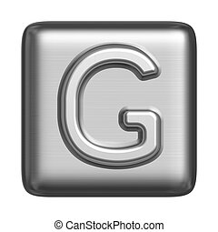 Metal alphabet in the form of a stamp. Capital letter G