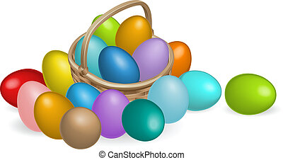 Pinted eggs basket illustration - A Basket full of colourful...