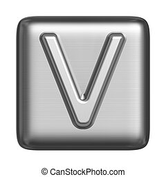 Metal alphabet in the form of a stamp. Capital letter V