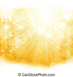 Abstract golden sparkling light burst with stars and blurry...