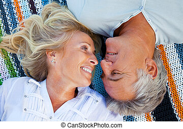 Portrait of a happy romantic couple - Closeup portrait of a...