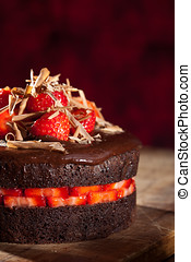 Chocolate strawberry cake - Delicious chocolate strawberry...
