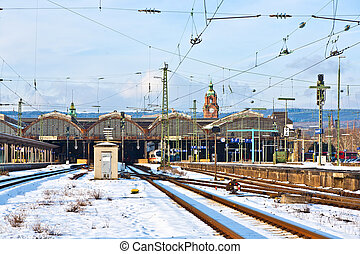 rails in winter at the station in Wiesbaden