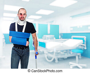 injured man - portrait of caucasian injured man in hospital