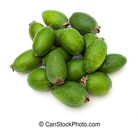 photo of feijoa, close-up, on white background