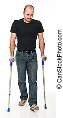 man with crutch
