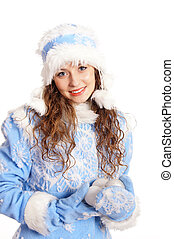 snow maiden on a white - portrait of a pretty snow maiden on...