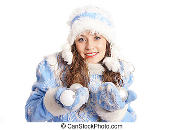new year snow maiden - portrait of a pretty snow maiden on...
