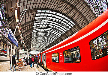 incoming train in Station - train enters the station with...