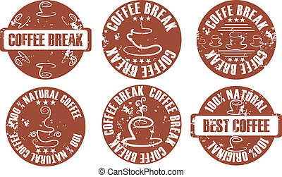 vector grunge coffee stamp set