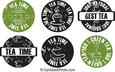 vector grunge tea stamp set