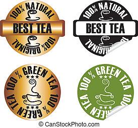 vector tea stamp set