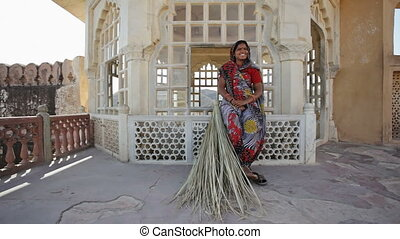 Indian Woman With Reed Broom - Indian Woman in traditional...