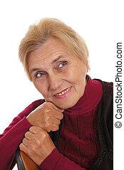 elderly woman portrait - portrait of a cute old woman on...