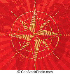 Adventures and travel illustration with compass rose on a map background