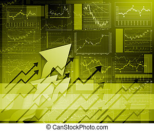 FInancial diagrams, charts and graphs - Colour illustration...
