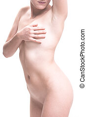 naked woman wellness on white background